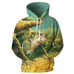 Рыболовные пуловеры онлайн-YOUTHUP 2019 Men's Hoodies 3D Fish Printed Hooded Pullovers Male Cool Hoodies Sweatshirts Unique Design Men's