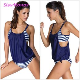 StarHonor Woman Striped Beach Swimsuit Bandage Double Layer Two piece Bikini Set Push Up Strappy Bathing Suit Swimwear Plus Size
