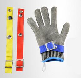 Guanti di taglio in acciaio inossidabile online-Guanto da macellaio in maglia metallica grado 5 resistente al taglio resistente alla corrosione in acciaio inossidabile con guanto di cotone libero ZZA921