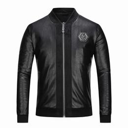 Nouvelle veste en cuir des hommes occasionnels européens et américains de mode  veste en cuir à manches longues en cachemire noir, nouvelle veste mâle PP27  ... 31db521d0cc