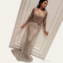 turkish gowns Coupons - Bling Sequins Muslim Mermaid Evening Dress 2020 Dubai Turkish Arabic Long Sleeves Prom Party Gowns Dresses Custom Made Abendkleider