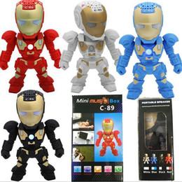 xiaomi мини-квадрат box bluetooth speaker Скидка C-89 игрушки Железный Человек Bluetooth-динамик со светодиодной вспышкой Робот Портативный Мини Беспроводной Сабвуфер TF FM USB-карта для наружного дома