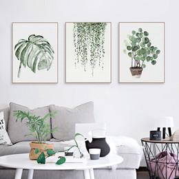 Rt resimler Suluboya Yeşil Bitkiler Monstera Doğa Posterler ve Baskılar İskandinav Tarzı Oturma Odası Duvar Sanatı Resimleri Ev Dekorasyonu Tuval ... nereden