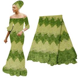dentelle nigérienne verte Promotion Tissu Français africain de dentelle de tissu 3D de broderie verte française pour la noce de tissu de dentelle de voile nigérian Aso Oke Gele BF0010