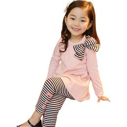 93be75460 niños Primavera y otoño sección niñas Versión coreana de las niñas arco  camisa raya polainas niños dos juegos 2 3 4 5 6 7 años
