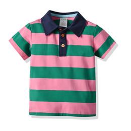 2020 jungen 5t gestreiftes t-shirt Neue Baby-Jungen-T-Shirt Kleinkind-kurze Hülsen-Regenbogen-gestreifte Baumwollspitzen-Art und Weise scherzt Jungen-Kleidung günstig jungen 5t gestreiftes t-shirt