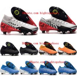 Sapatos de futebol de vapores on-line-2019 de alta qualidade dos homens chuteiras Mercurial Superfly 7 Elite SG-PRO grampos do futebol AC baratos chuteiras Mercurial CR7 Vapores 13 Elite SG