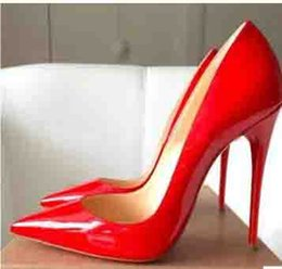 zapatos al por mayor para la boda Rebajas Venta al por mayor de las mujeres Negro de piel de oveja Nude charol Poined Toe Womens bombas, moda Red Bottom High Heels Shoes Wedding Shoes