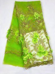 robes en dentelle vert citron Promotion 5 yards / pc Nice regardant citron vert français net tissu de dentelle avec perles fleur broderie africaine maille dentelle pour robe QN73-8