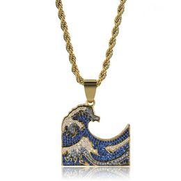2019 emoji geschenke Hohe Qualität Hip Hop Iced Out Emoji Meer Welle Anhänger Halsketten Hip Hop Gold Silber Farbe Ketten Für Männer Maske Geschenke Schmuck rabatt emoji geschenke