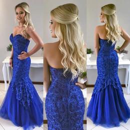 robe de bal turquoise à manches longues en dentelle Promotion Bleu royal sirène dentelle robes de bal d'étudiants perlés chérie cou robe de soirée longueur de plancher Tulle Plus la taille robes formelles