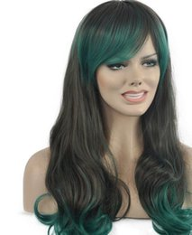 LL kk 004456 New Women Dark Grey Green Mix Ondulata lunga frangia Parrucca Parrucche per capelli cheap long wavy hair bangs da bandiere lunghe ondulate fornitori
