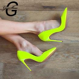 2019 fluoreszierende fersenschuhe GENSHUO Fluorescent gelb-Absatz-Schuhe Frauen-Pumpen Spitz-Toe Stiletto Absatz-Schuhe Frau Hochzeit Schuhe Größe rabatt fluoreszierende fersenschuhe