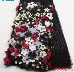 африканская кружевная фиолетовая органза Скидка 2019 высокое качество африканской ткани 3D цветы с бисером тюль кружевной ткани новый дизайн нигерийский тюль PGC1956B-2