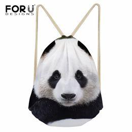 2019 panda geschenke für mädchen FORUDESIGNS Taschen Frauen Jungen Mädchen Schultaschen Geschenk Bookbag Für Kinder Polyester Drawstring Cute White Panda Print Rucksack günstig panda geschenke für mädchen
