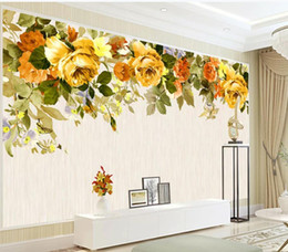 hand painted garden Coupons - Modern Custom 3D Wallpaper European and American hand painted yellow garden flowers TV background wall painting