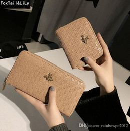 card personalized Coupons - Factory direct selling women bag retro woven long wallet personalized hollowed out brand wallet fashion Embossed Leather Womens Wallet