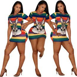 Vestido curto de mulheres de lantejoulas on-line-Mulheres Estilo Designer Roupas Vestido de Lebre Cor Blocos Sexy Fino Vestidos de Manga Curta Lantejoulas Dos Desenhos Animados 2019 Moda Verão Atacado DHL