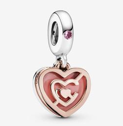 2019 corazon rosa pandora encantos colgantes Fit Pandora Jewelry Pink Heart Labyrinth Dangle Charm Beads Bracelet Sterling Silver 925 Original European Charms Necklace Collection corazon rosa pandora encantos colgantes baratos