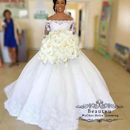 fotos vestidos bolero Desconto Laço africano Vestido De Baile Vestidos De Noiva Vestidos De Noiva 2019 Plus Size Vestido de noiva Manga Longa Boat Neck Corset Vestido De Casamento