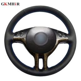 2019 volante x5 DIY preto tampa do volante macio couro artificial tampa do volante do carro para e39 e46 325i e53 x5 desconto volante x5