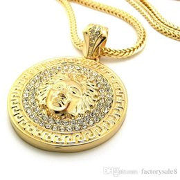 pendant pieces for men chains Coupons - Hip hop long necklace 24K gold plated Medusa Avatar High quality crystal jesus piece pendant Fashion Jewelry for women & men XQ03
