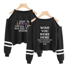 2019 sexy hip hop mode frauen Astroworld kpop Sweatshirt kurzes Sweatshirt schulterfreies Top Mode kurze sexy Astroworld Hip Hop kpop Ernte Hoodies für Frauen rabatt sexy hip hop mode frauen