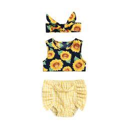 vestiti lunghi di calzini Sconti 3PCS Pudcoco 2019 New Brand Toddler Neonato Ragazza Girasole Top Vest Plaid Pantaloncini Slip Outfit