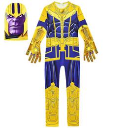 robe siamois Promotion Avengers Alliance4 dans le Thanplay Cosplay convient à 2019 Nouveaux Enfants Avengers Thanos costume vêtements cosplay + masque 2pcs robes de soirée siamois C32