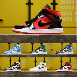 Top qualité de l air Jordan 1s AJ 1 Retro OG High Mid Chaussures de basket Toe Noir Blue Storm Banned Space Jam Vol extérieur Taille de marche 36 45