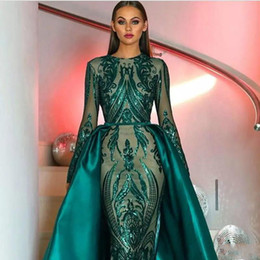 black white sequin prom dresses Coupons - Luxury Muslim Dark Green Long Sleeves Sequins Mermaid Evening Dresses 2019 Illusion Plus Size Formal Party Prom Gowns With Detachable Skirt