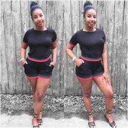 2019 moda mulheres verão esporte roupas Mulheres 2 pcs Shorts Ternos Lazer Verão Plus Size Vestuário Esporte Ternos Lápis Calças Designer De Moda Fatos moda mulheres verão esporte roupas barato