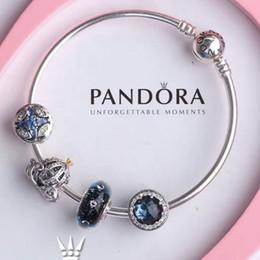 Sterling silber katze armband online-2019 neue luxus designer schmuck frauen armbänder pandora charms Blue Cat's Eye Glasperle Kürbis Auto 925 Silber Pandora Armband
