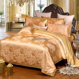 fronhas de luxo bordadas Desconto Luxo cetim jacquard casamento amoreira seda cama 100% algodão bordado incluindo capa de edredão lençol fronha