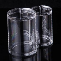 Косметика для гостиниц онлайн-Clear Makeup Organizer Cotton Pads Holder Storage Home Swab Cosmetic Hotel Divider Jar Acrylic Double Containers Box Transparent
