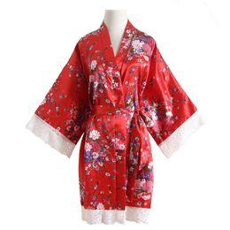 Argentina Un tamaño de kimono Albornoz Flor Sexy Boda Novia Damas de honor Batas Vestido de noche de satén Vestido de dormir informal Encaje Ropa para el hogar cheap one sexy night clothing Suministro