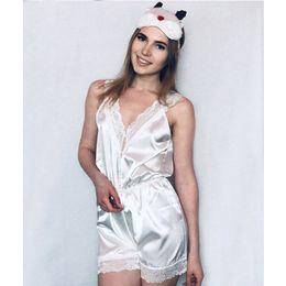 calções de noite sexy adulto Desconto Sexy Lace Onesies Para Adultos Shorts Sleepwear Macacão Pijama Romper Cetim Mulheres Pijama Ternos Brancos Noite Swc3364-47