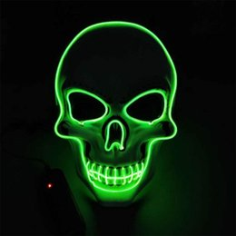 party glow supplies Promo Codes - Glowing Mask Light up Costume Mask LED Party Mask for Horror Theme Cosplay EL Wire Masks Halloween Supplies