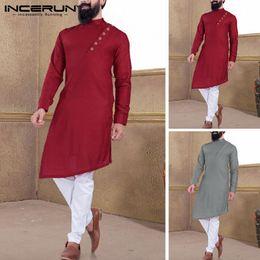 2020 vestiti musulmani uomini INCERUN Uomini Kurta Suit Camicia 2019 Vintage Button basamento solido collare manica lunga vestiti musulmani irregolare lunga Camicie Uomo vestiti musulmani uomini economici