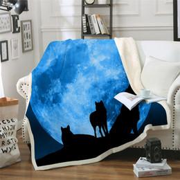 2019 3d одеяла Лунные Волки 3d печатные Шерпа одеяло диван крышка путешествия молодежные постельные принадлежности выход бархат плюшевые бросить флис одеяло покрывало новый скидка 3d одеяла