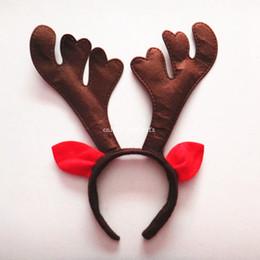 Hirschgeweih stirnband online-500pcs Weihnachten Antlers Kopfbedeckung-Geweih-Klingel-Bell-Haarband Weihnachten Horn Stirnband mit Ohren Deer Stirnband