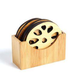 Tampon isolant en bambou en Ligne-Bambou naturel boisson dessous de verre ensemble Creative napperon tasse tapis pad tasses à café porta copos décoration de la maison soucoupe isolation