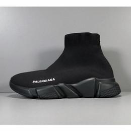 Дешевые ботинки с красной подошвой онлайн-Дешевые Дизайнер Скорости Тренер повседневная Обувь черный белый красный блеск Плоские Модные Носки Сапоги Кроссовки Модные Кроссовки Бегун F51