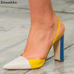 Runway Vestido Bombas Sapatos Mulher Yellow Colorblock Jasmim Sapatos de Couro Genuíno de Salto Alto Slingbacks Sandálias Zapatos de Mujer de