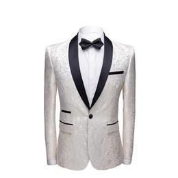Britischen Stil Herren Weiß Casual Anzug Jacke Prom Party Floral Blazer Mann Mantel Blazer Hombre Herren Slim Fit Blazer Masculino von Fabrikanten
