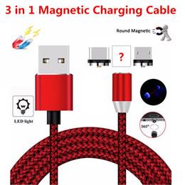 2019 коды освещения 3 в 1 Быстрая зарядка Магнитный кабель для зарядки LED свет 8-контактный Micro USB Type C для всех телефонов i7 Samsung Xiaomi Кабели для магнитной зарядки Код скидка коды освещения