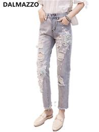 a48d84dd0f Vintage Womans bestickte Pailletten Blumen Loch Jean Frauen hohe Taille Plus  Size Taschen Jeans Washed Denim Slim Bleistifthosen