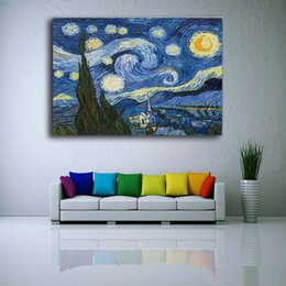 Stampe giclee di belle arti online-Enorme tela Wall Art Night Starry Night di Vincent Van Gogh Stampa giclée Fine su tela Picture Wall Decor Art For Living Room-Canvas Painting 14