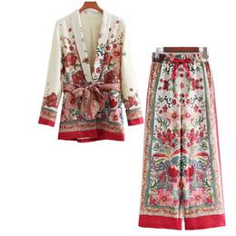 Il modello di fiore ansima lo stile online-Vestito da 2 pezzi Vestito da donna in stile retrò Modello di fiore in stile europeo Casual da spiaggia Sandy Beach Jacket + Pants Pigiama Suit Q190416