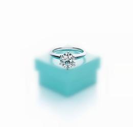Boîtes mariées en Ligne-2019 Version haute avec six griffes, bague de luxe avec diamant de 1-3 carats, avec logo T, anneaux de couple en argent 925 pour femmes se mariant avec engagement de mariage avec boîte